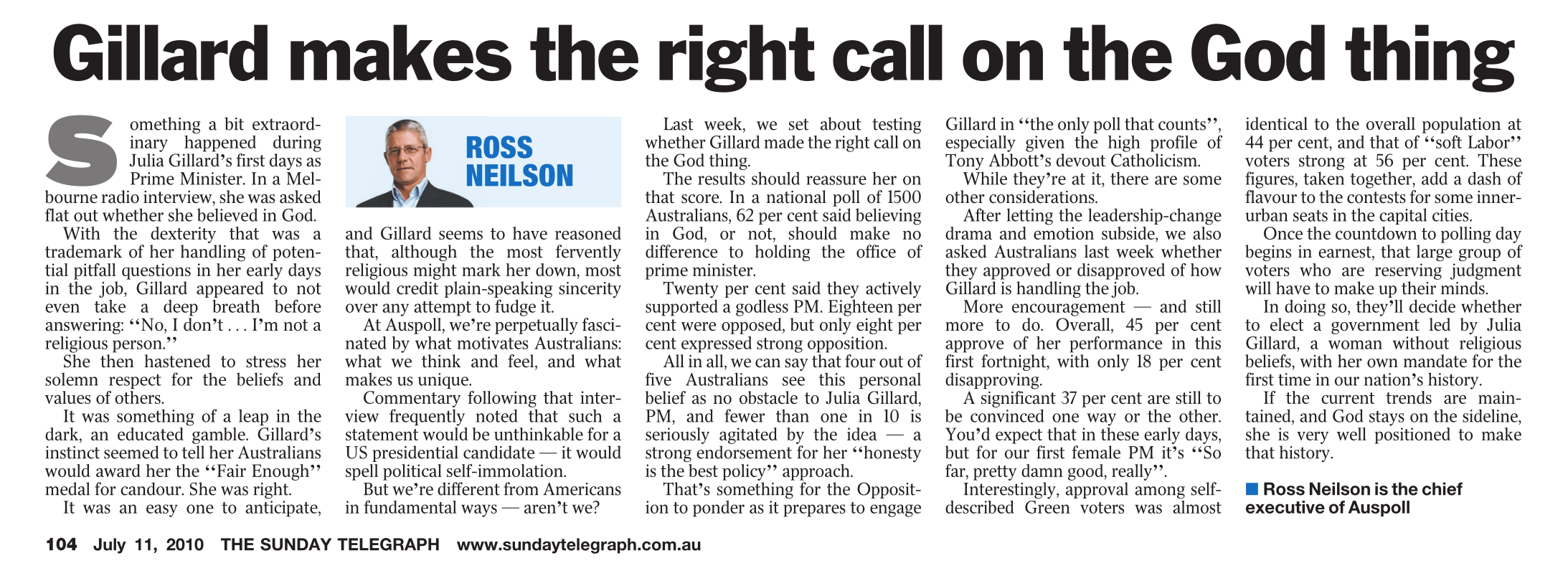 Gillard makes the right call on the God thing