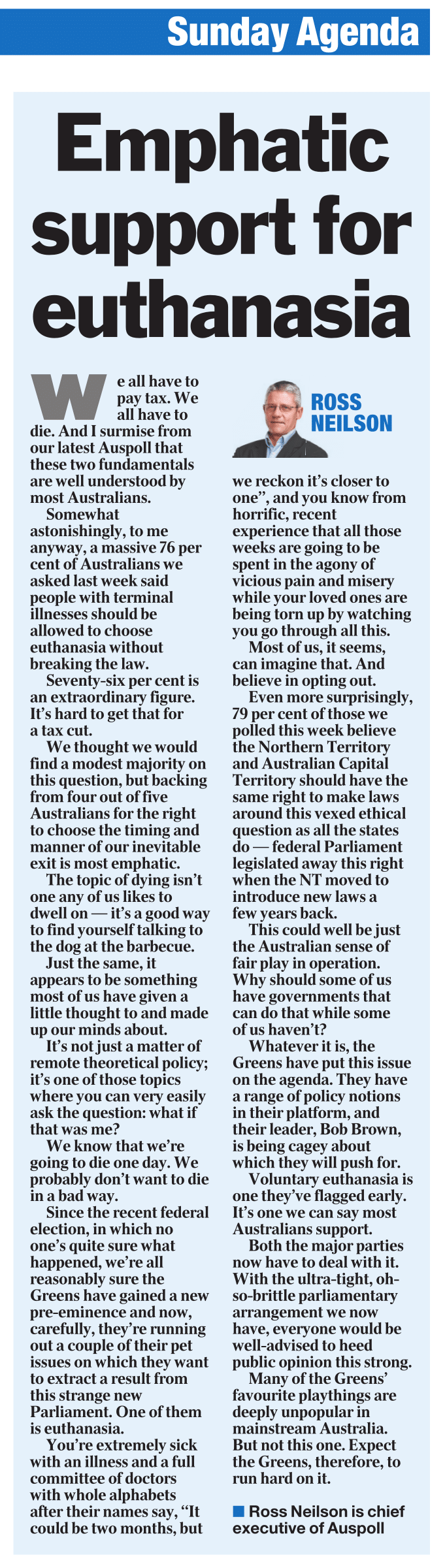 Emphatic support for euthanasia
